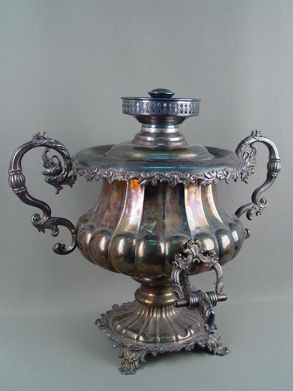 Антиквариат. антикварный Самовар, серебрение, накладное серебро. Ксимантовский