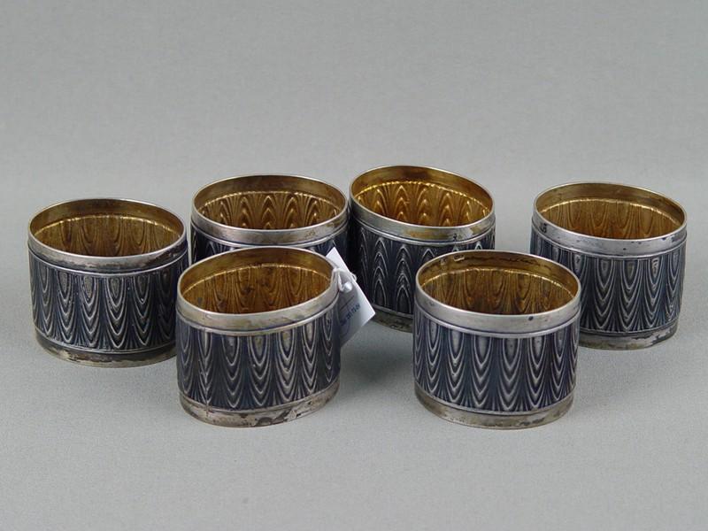 Кольца длясалфетки (6шт.), серебро 84пробы, золочение, общий вес— 370г