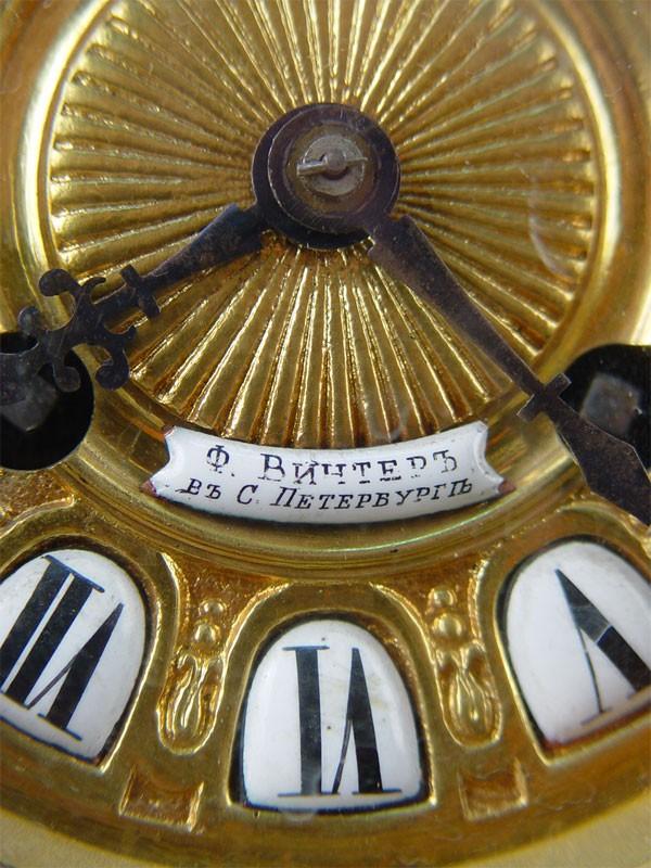 Часы каминные «Готические», бронза, литье, эмаль. Россия, Санкт-Петербург, 19 век, высота— 44см