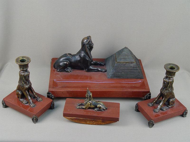 Письменный прибор «Древний Египет» (4предмета), бронза, камень, XIXвек, 34×21см (чернильница)
