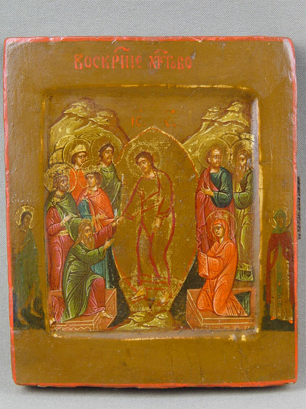 Икона «Воскресение Христово», дерево, левкас, темпера, XIXвек, размеры: 13×11см