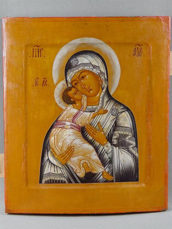 Икона «Пресвятая Богородица Владимирская», дерево, левкас, темпера, начало XIXвека, 31×27см