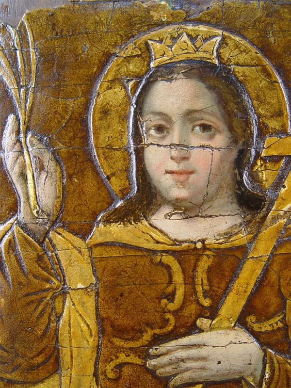 Икона «Святая Екатерина», дерево, левкас, темпера, 31×24,5см, XVIIIвек