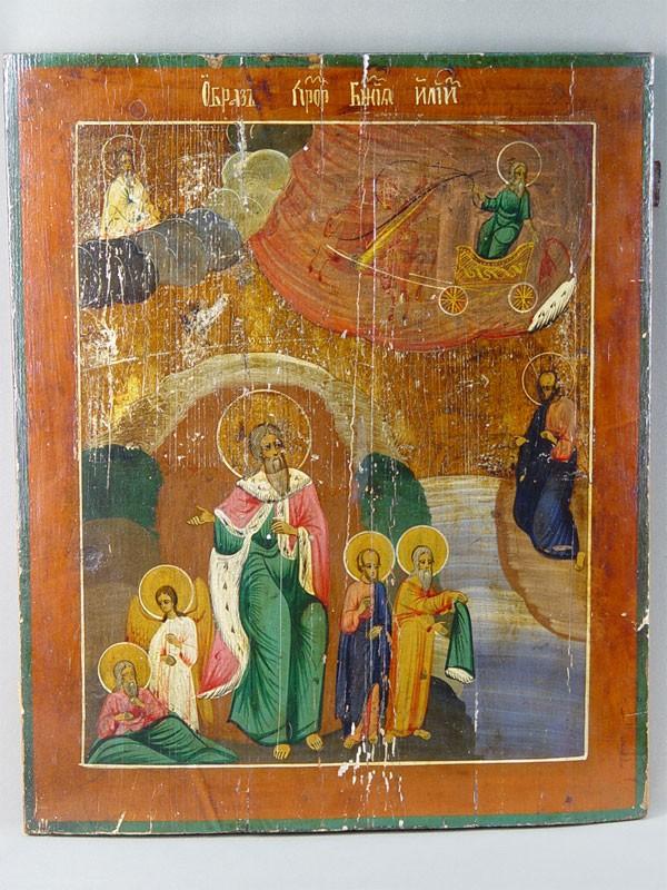 Икона «Огненное восхождение Святого Илии Пророка», дерево, левкас, темпера, 52×43см