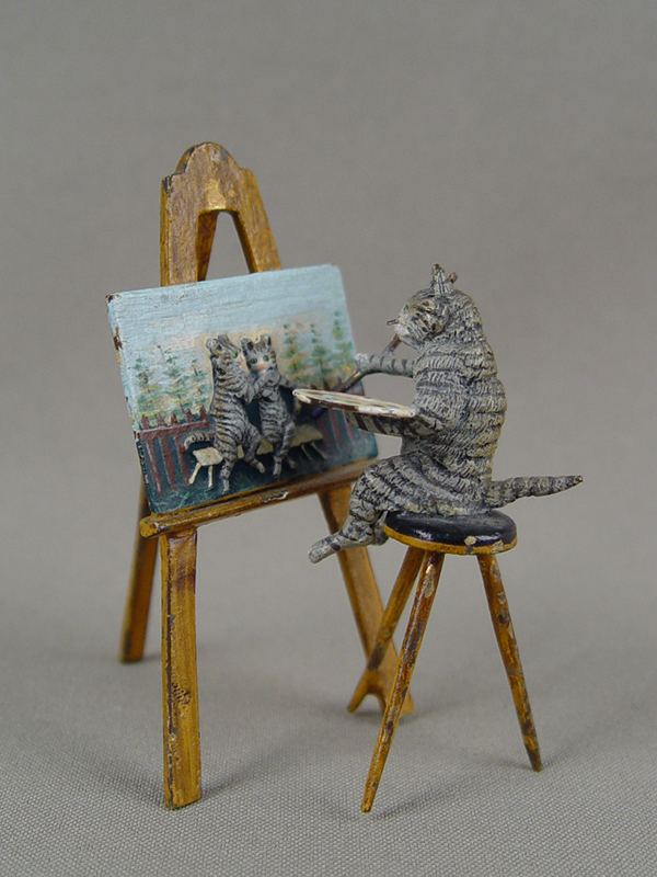 «Кот— художник», конец XIX — начало XX века, венская бронза, высота— 7,5см