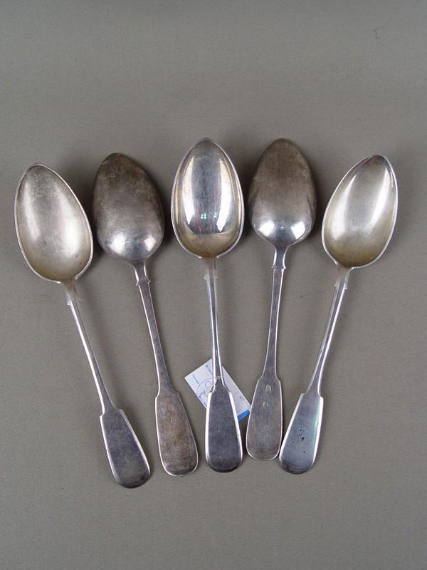 Ложки столовые (5шт), серебро 84пробы, общий вес— 306г