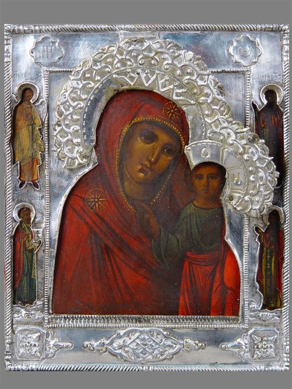 Икона «Пресвятая Богородица Казанская», оклад латунь, венцы серебро 84пробы, 22×18см