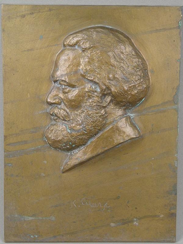 Барельеф «Карл Маркс», бронза. Германия, середина XXвека, 30×21,5см