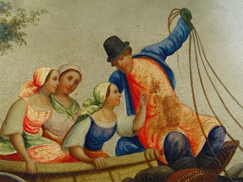 Панно «Тройка», папье-маше, лаковая живопись. Фабрика Н.Лукутина, начало XXвека, 31×45см