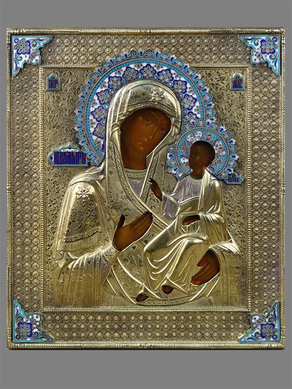 Икона «Пресвятая Богородица Иверская», дерево, левкас, темпера. Оклад серебро 84пробы, эмаль, золочение, Москва, 1878год, 31×27см