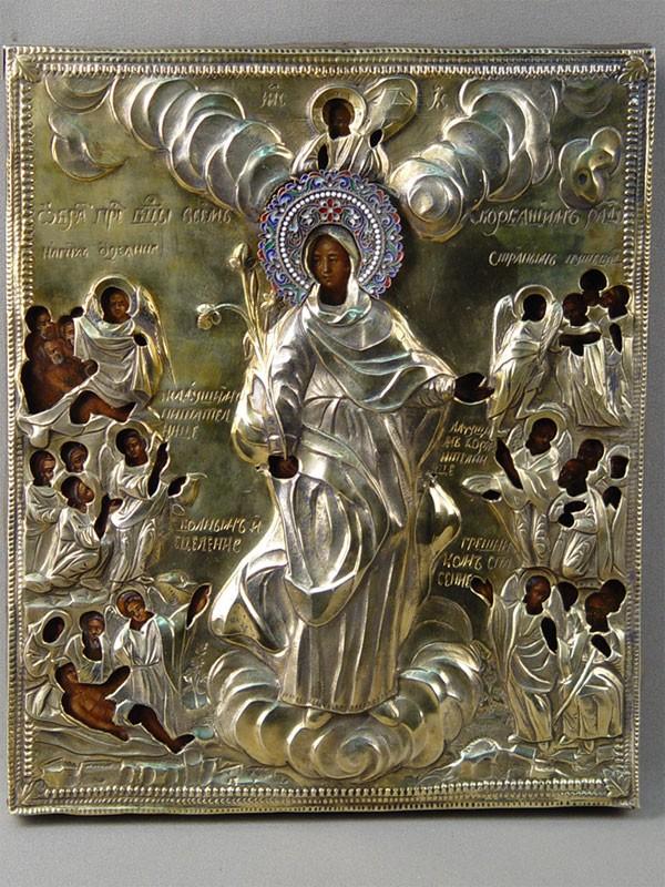 Икона «Пресвятая Богородица Всех скорбящих Радость» дерево, левкас, темпера. Оклад серебро 84пробы, золочение, эмаль, мастер Федор Мякишев, XIXвек, 27×23см