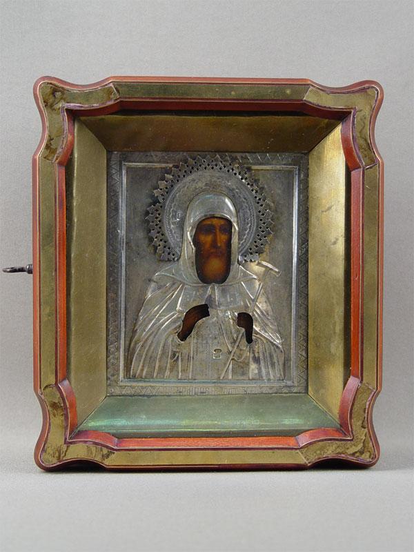 Икона вкиоте «Святой Патриарх Гермоген», дерево, левкас, темпера, XIXвек, оклад— серебро 84пробы, размер иконы: 13×11см