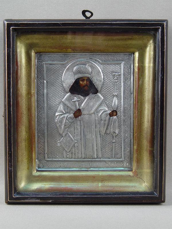 Икона вкиоте «Святой Феодосий Углический», дерево, левкас, темпера, XIXвек, оклад— серебро 84пробы, 13,5×11,5см
