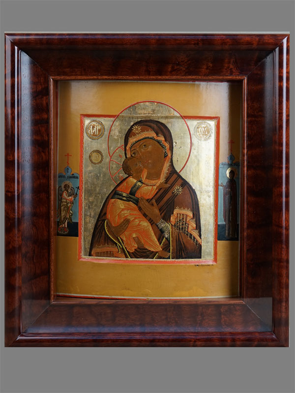 Икона «Пресвятая Богородица Владимирская спредстоящими», дерево, левкас, темпера. XIXвек, автор— Н.Руденцов, размер: 28,5×25см