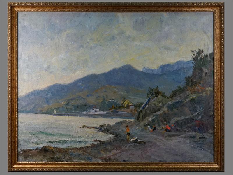 В.А.Фербер, «Залив спричалом», холст, масло, размер: 67×87см