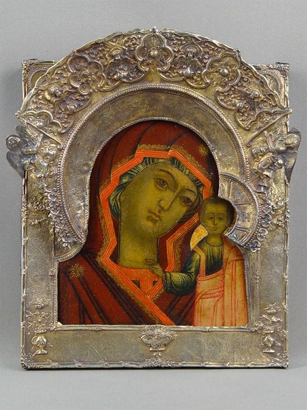 Икона «Пресвятая Богородица Казанская», дерево, левкас, темпера, оклад серебро. Мстера, начало XVIIIвека, 28,5×25см