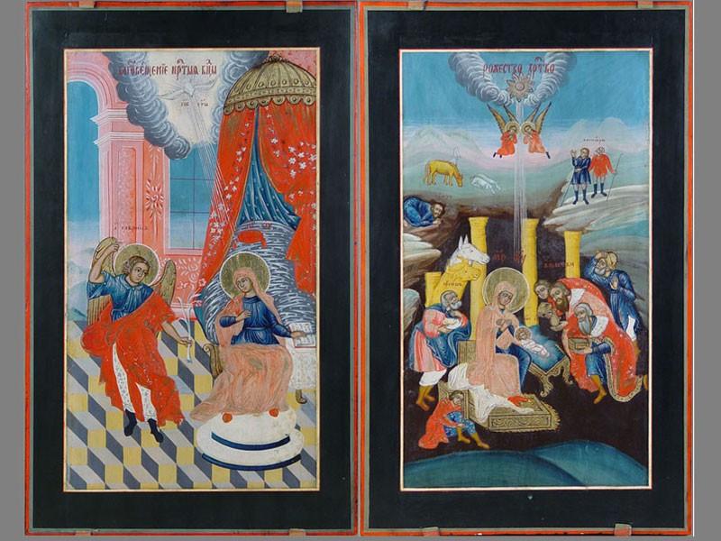 Четыре иконы изПраздничного чина иконостаса: «Благовещение Пресвятой Богородицы», «Рождество Христово», «Преображение», «Вход Господень вИерусалим». Дерево, левкас, темпера, золочение, 56,5×34,5см
