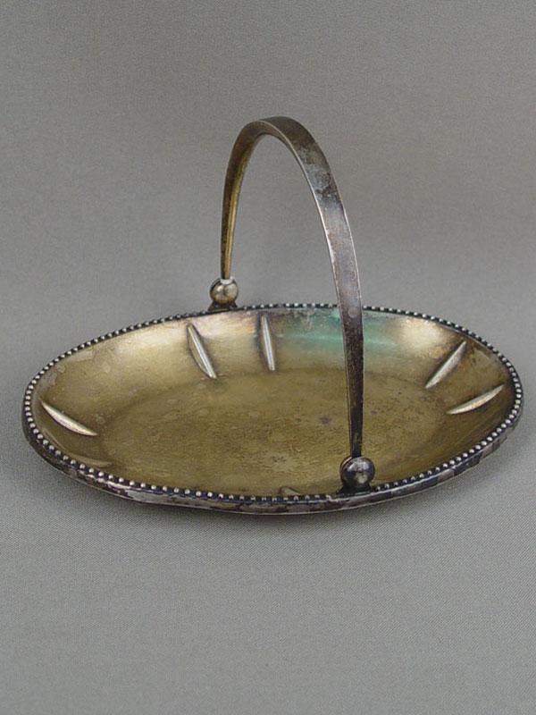 Вазочка, серебро 875пробы, общий вес— 104г, длина— 15,5см