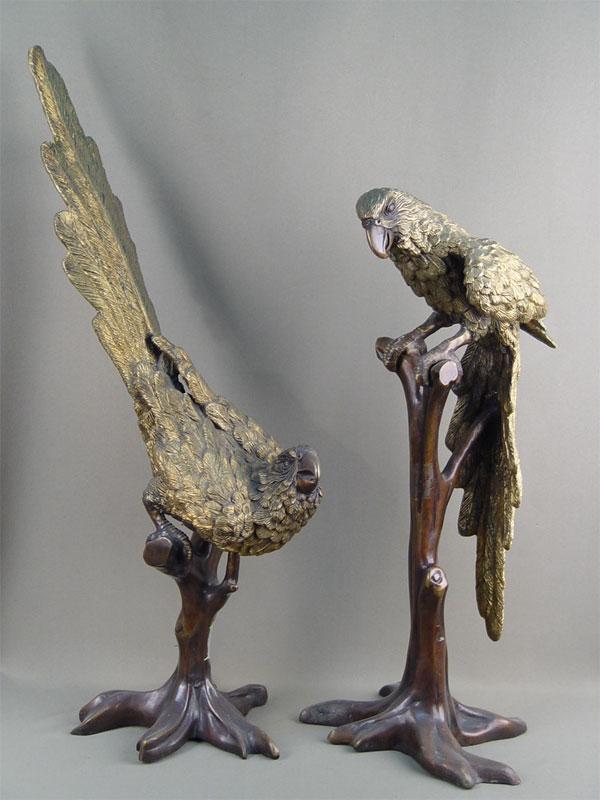 Пара скульптур «Попугаи», бронза, литье, патинирование, высота— 69см