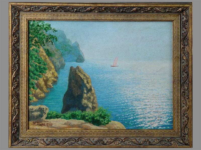 М.Тиме «Морской пейзаж. Крым», картон, масло, 24×30см, 1971год