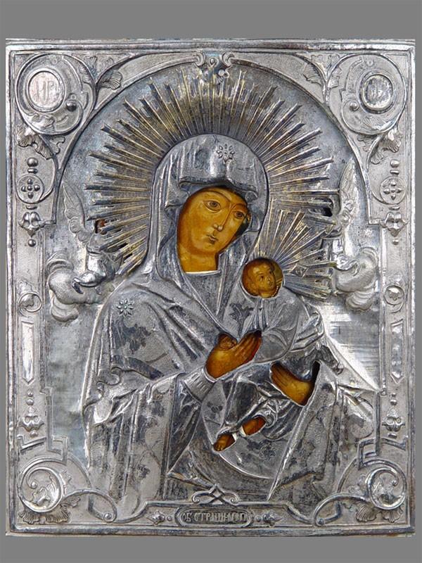 Икона «Пресвятая Богородица Страстная», дерево, левкас, темпера, XIXвек. Оклад латунь, серебрение. Размер иконы: 35,5×29,5см
