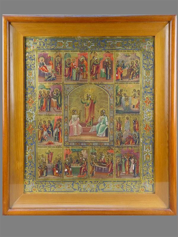 Икона «Праздники. Воскресение Христово», дерево, левкас, темпера, 44× 36,5см; киот