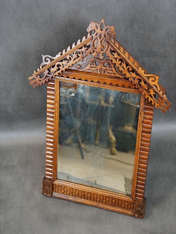 Зеркало настольное врусском стиле, орех, резьба, конец XIXвека, высота— 70см