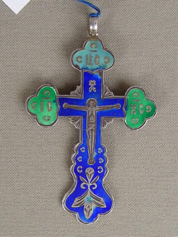 Антиквариат. антикварный Крест нательный, серебро 84 пробы, эмаль