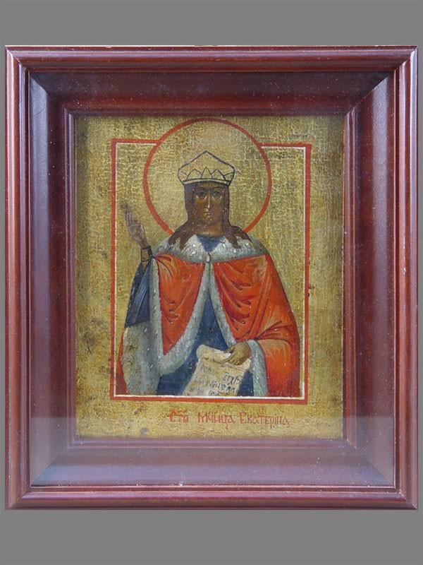Икона «Святая Мученица Екатерина», дерево, левкас, темпера, 20×17см; киот