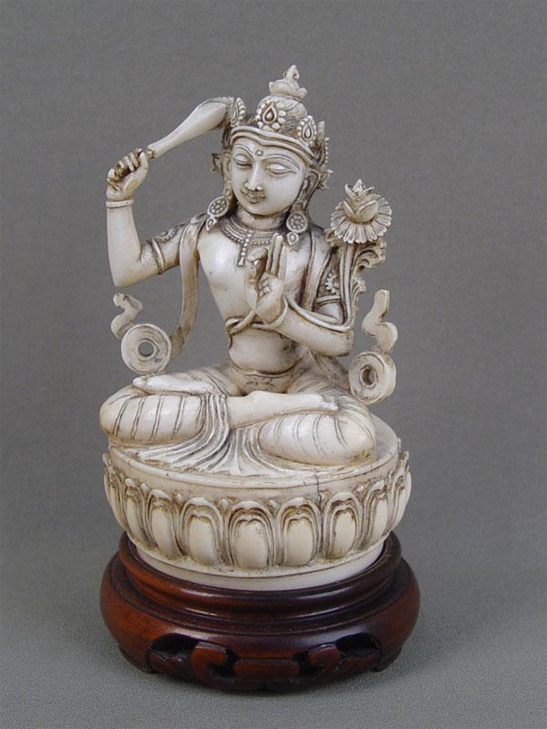 «Будда», кость, резьба, XIXвек, высота— 11,5см, подставка дерево