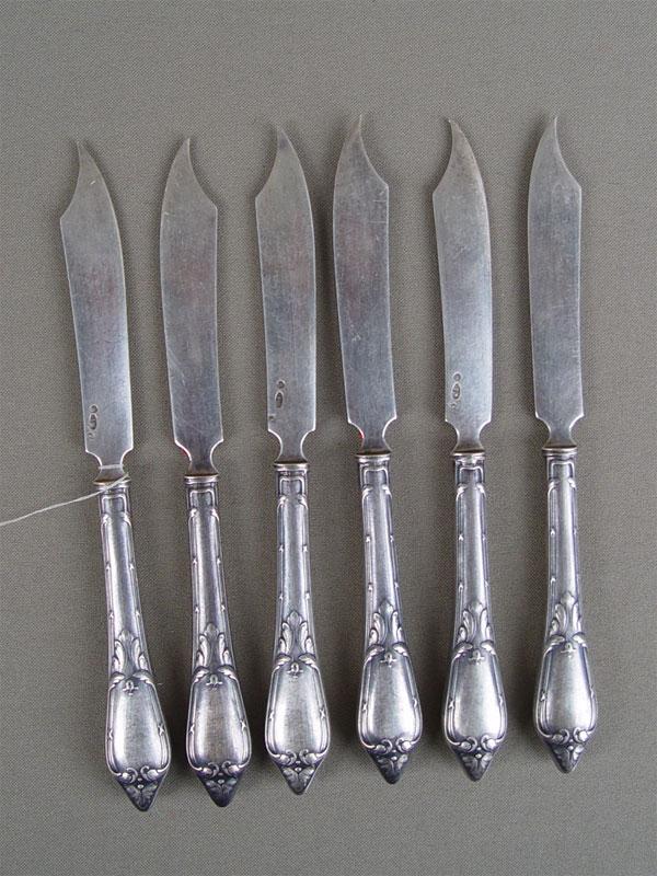 Ножи десертные (6шт.), серебро 84пробы, общий вес— 227г.