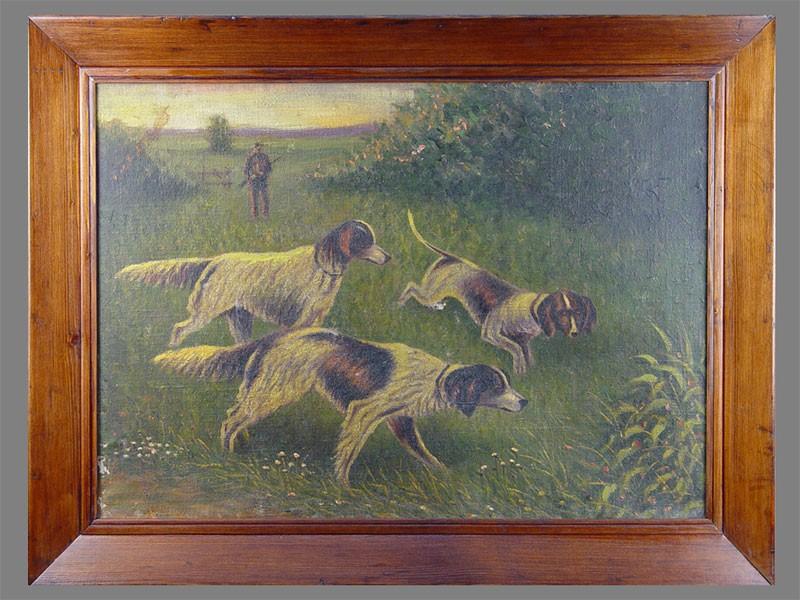 Неизвестный художник, «Собаки наохоте», холст, масло, 69×49см