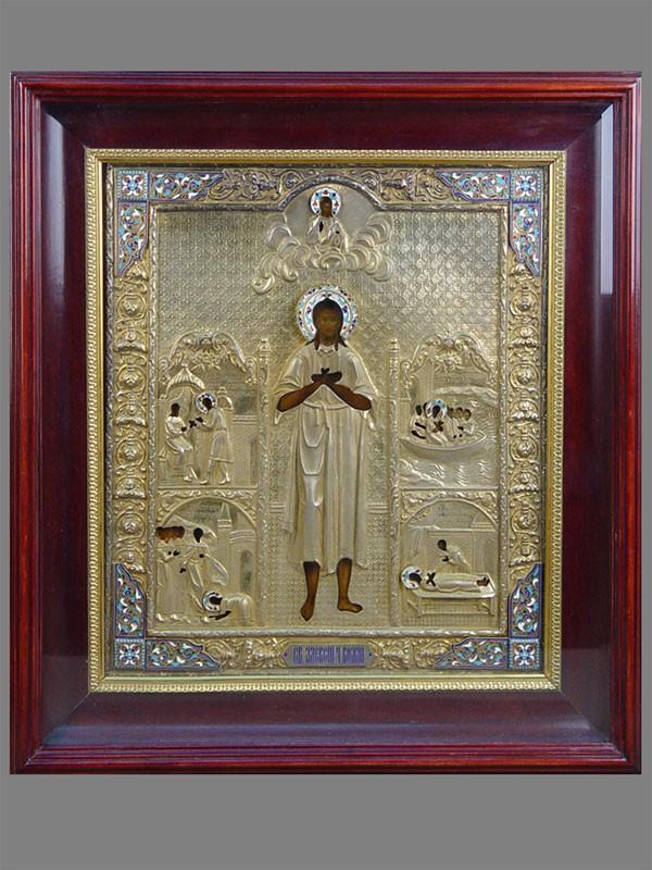 Икона вкиоте «Святой Алексий, Человек Божий сжитием», дерево, темпера; оклад: серебро 84пробы, золочение, эмаль, XIXвек, размер иконы: 36×31см
