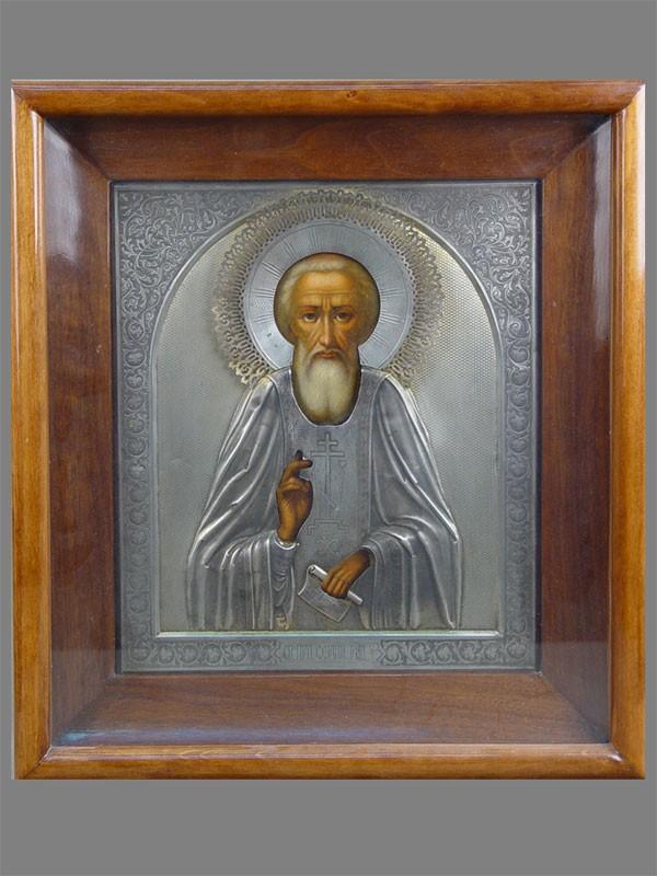 Икона «Святой Преподобный Сергий Радонежский», дерево, масло; оклад серебро 84пробы, золочение, XIXвек, 32×27см; киот