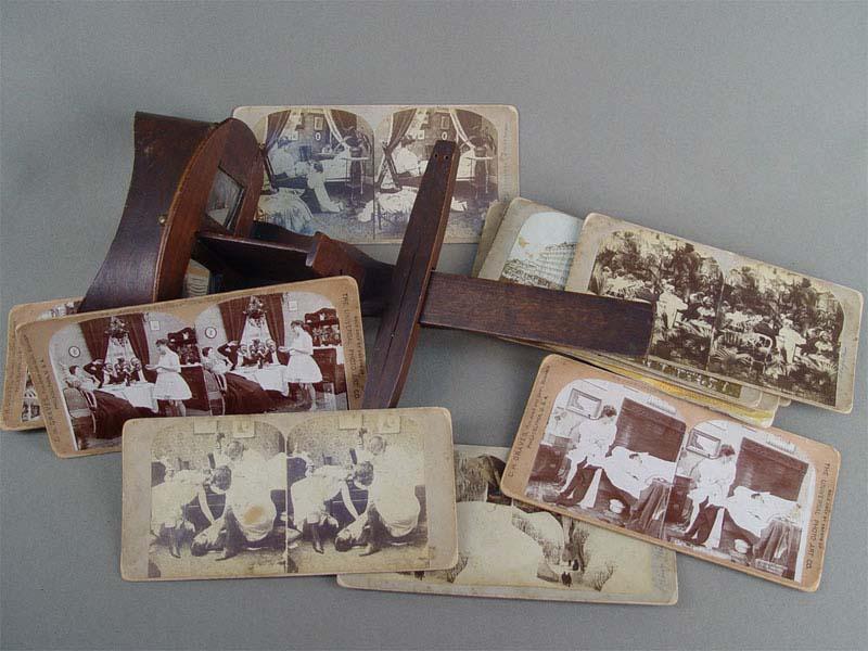 Стереоскоп снабором фотографий, дерево, начало XXвека