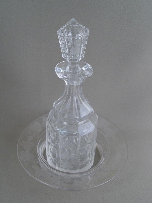 Антиквариат. графин и блюдо, антикварное стекло. Императорский стеклянный завод