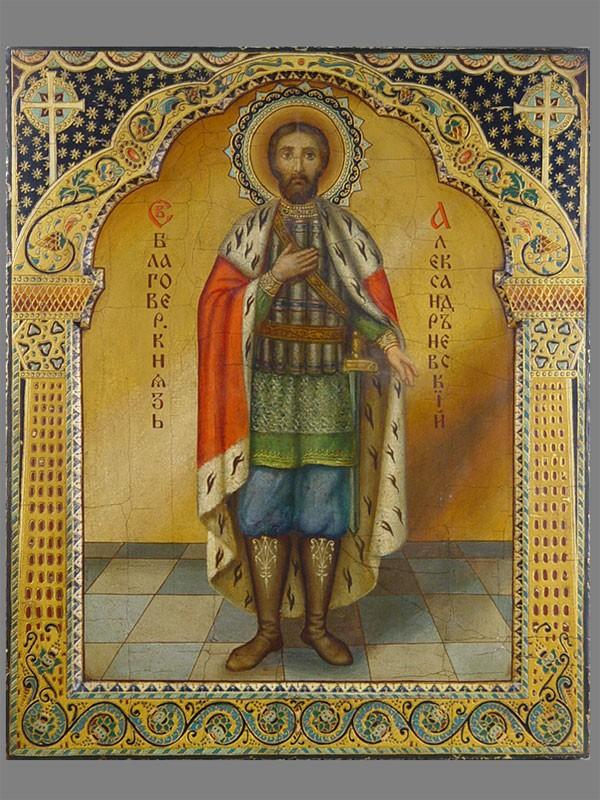 Икона «Святой Александр Невский», дерево, левкас, темпера, модерн, размер: 54×44см