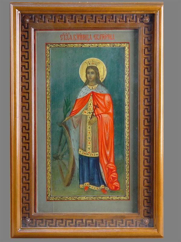 Икона «Святая Мученица Екатерина», дерево, масло, начало XXвека, 35×20см; киот