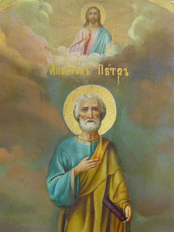 Икона «Святой Апостол Петр», дерево, левкас, темпера, позолота, центральная часть— конец XIXвека, поля— XXвек, модерн, размер: 45,5×39,5см
