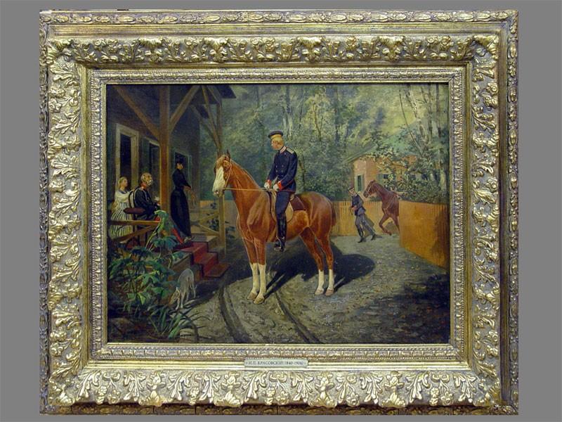 Красовский Н.П. (1840-1906), «Перед конной прогулкой», холст, масло, 1900-е годы, 60×81см.