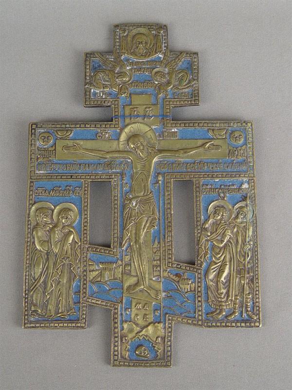Антиквариат. Крест, медное литье, эмаль