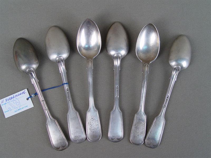 Ложки чайные (6шт.), серебро 84пробы, общий вес— 278,8г., клеймо «Хлебников»