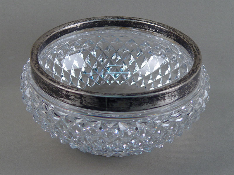 Ваза, серебро 84пробы, хрусталь, диаметр— 21см
