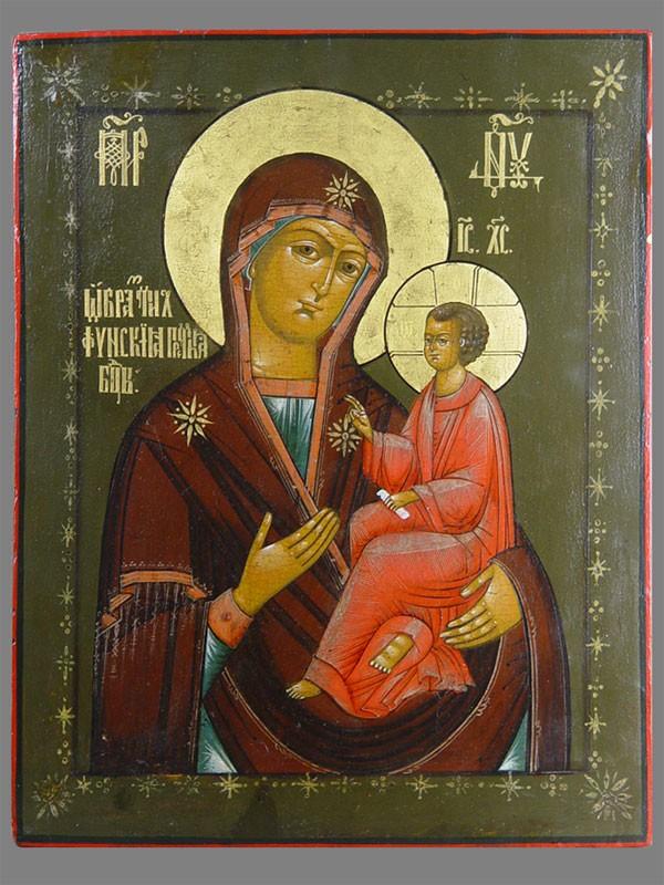 Икона «Пресвятая Богородица Тихвинская», дерево, левкас, темпера. Вологда XIXвек, 46,5×36см
