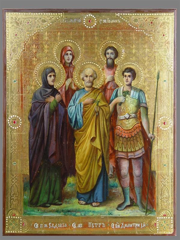 Икона «Собор Святых: Апостол Петр, Иоанн, Димитрий, Евдокия, Мария», дерево, масло, золочение, конец XIXвека, 40×30см