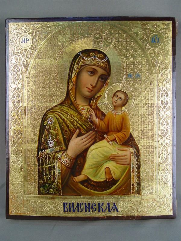 Икона Божьей Матери «Виленская», дерево, левкас, темпера, конец XIXвека, размер: 31×26см