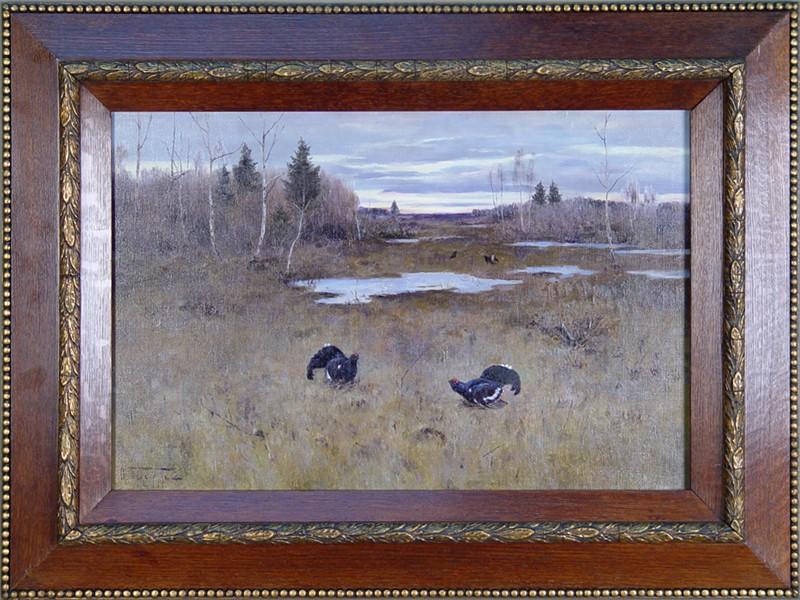 Картина в раме «Глухари», художник — Ф. К. Бурхардт, холст, масло, размер холста: 36 × 53,5 см. Атрибуция.
