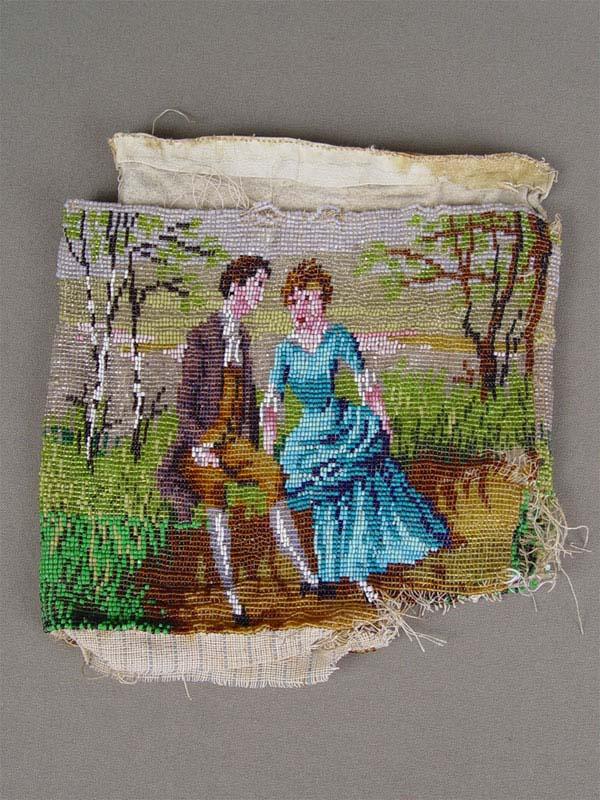 Фрагмент сумочки «Галантная сцена», бисер, 22×26см