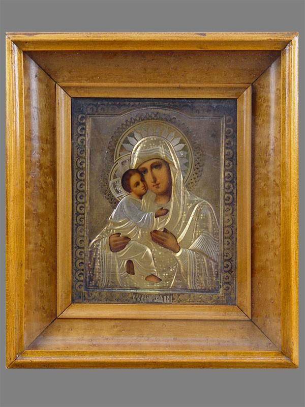 Икона «Пресвятая Богородица Владимирская», оклад серебро 84пробы, 17×14см, XIXвек; киот