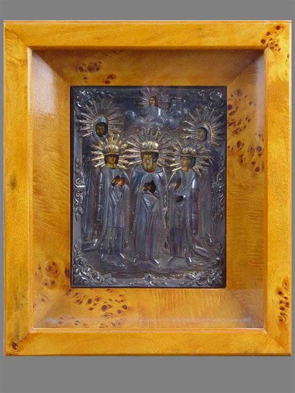 Икона «Святые Петр иФеврония Муромские, Константин, Федор иМихаил», дерево, левкас, темпера, оклад серебро 84пробы, 18×13,5см, XIXвек; киот